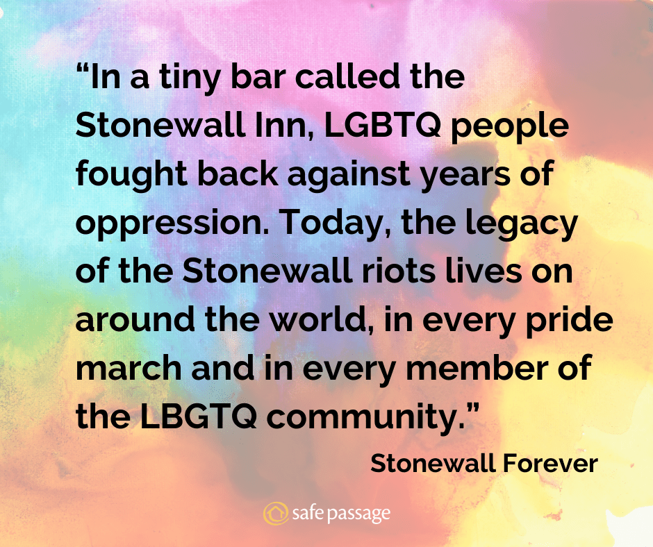 "Rainbow background with black text overlay: ""In a tiny bar called the Stonewall Inn, LGBTQ people fought back against years of oppression. Today, the legacy of the Stonewall riots lives on around the world in every pride march and in every member of the LGBTQ community"". From Stonewall Forever."